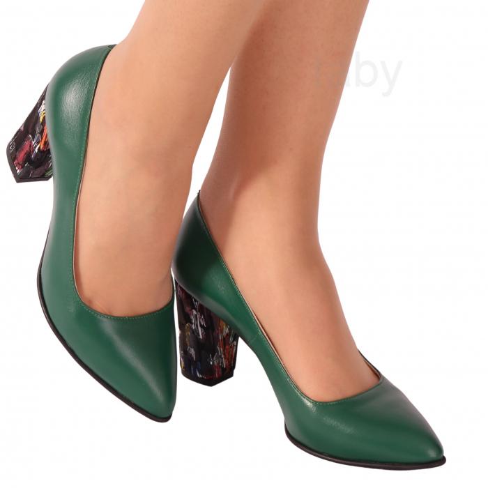 Pantofi din piele naturala 750 Timb Verde [0]