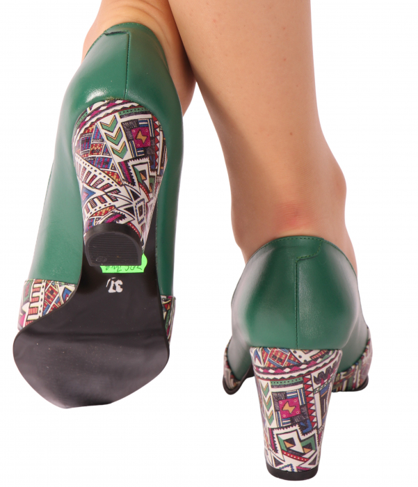 Pantofi din piele naturala 750 Tradi Verde [2]