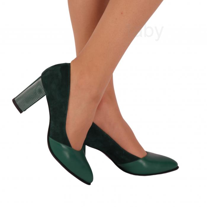 Pantofi din piele naturala 750 Verde B [0]