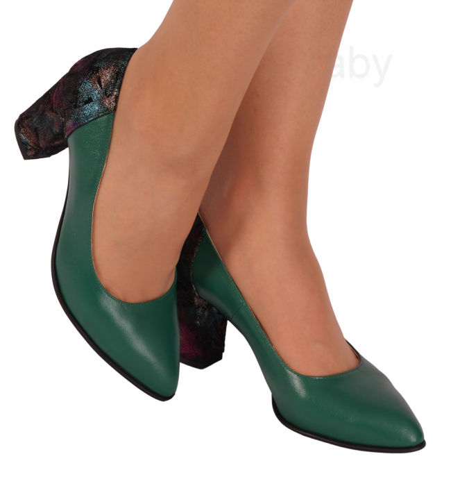 Pantofi din piele naturala 786 Verde [0]