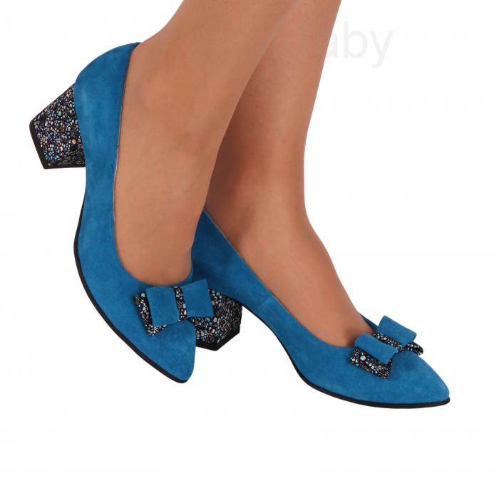 Pantofi din piele naturala 821 Albastru oriental [0]