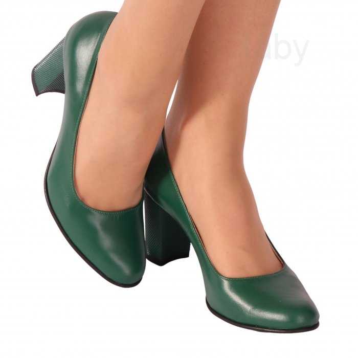 Pantofi din piele naturala 823 Verde [0]