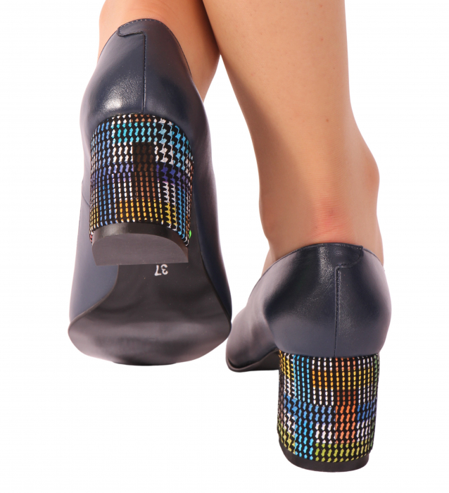 Pantofi din piele naturala 852 Timb Bleumarin [1]