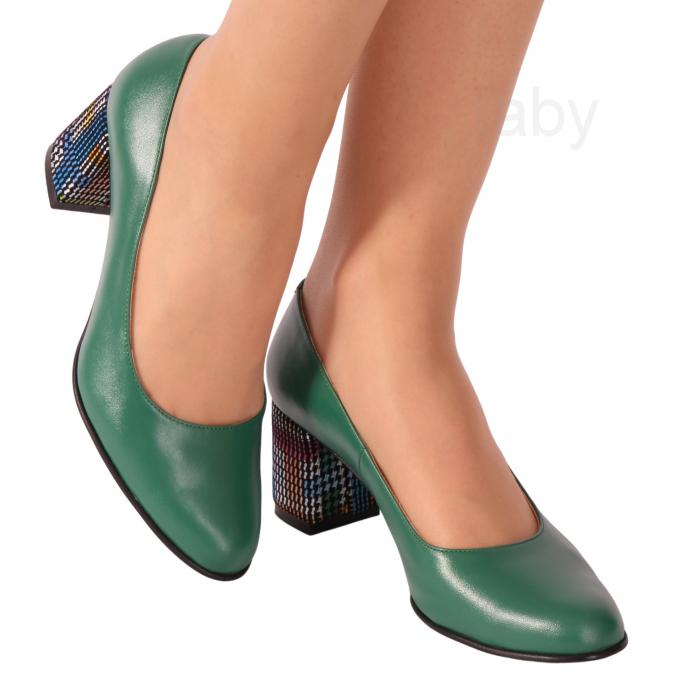 Pantofi din piele naturala 852 Timb Verde [0]