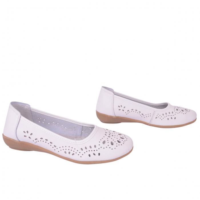 Pantofi din piele naturala B735684 WHITE 3