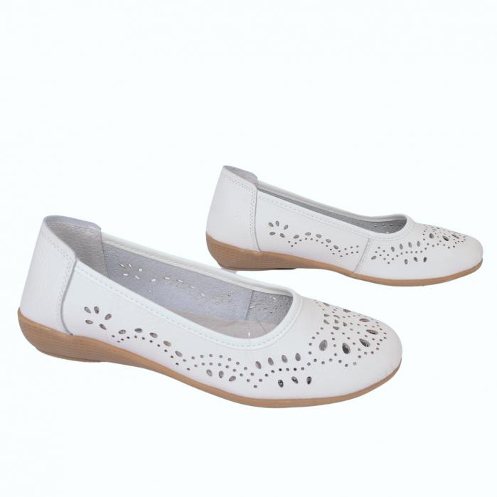 Pantofi din piele naturala B735684 WHITE 2