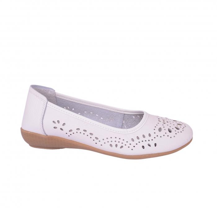 Pantofi din piele naturala B735684 WHITE 1
