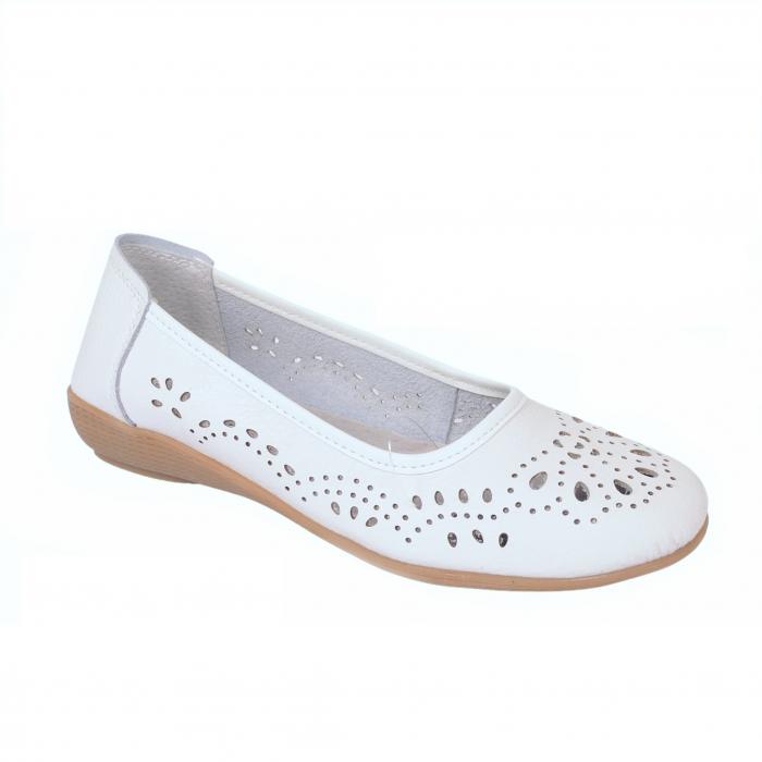 Pantofi din piele naturala B735684 WHITE 0