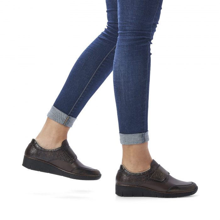 Pantofi din piele naturala Rieker 53750-25 Maro Inchis [9]