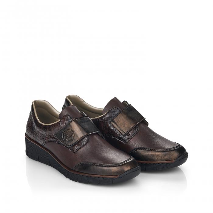 Pantofi din piele naturala Rieker 53750-25 Maro Inchis [0]