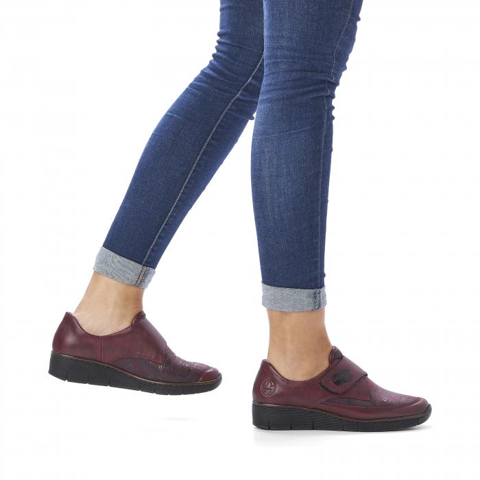 Pantofi din piele naturala Rieker 537C0-35 Visiniu [9]