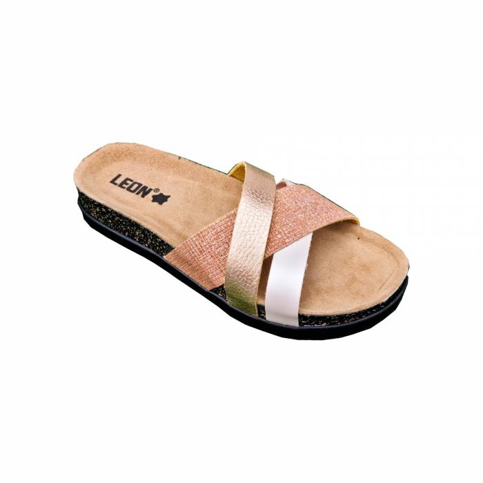 Papuci confortabili dama Leon 1201 Rose cu talpa neagra [0]