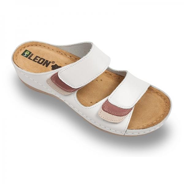 Papuci confortabili dama Leon 904 Alb 0