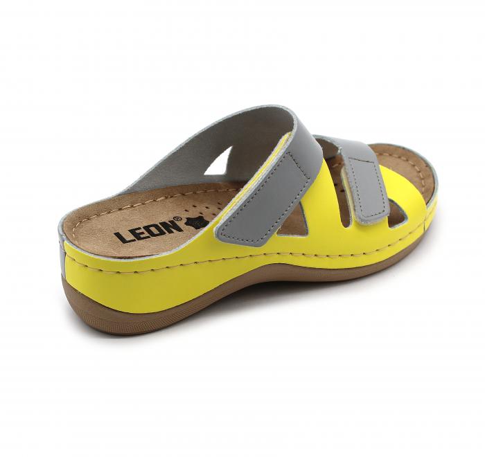 Papuci confortabili dama Leon 906 Gri cu Galben [1]