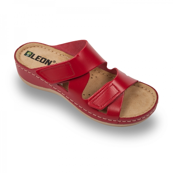 Papuci confortabili dama Leon 906 Rosu 0