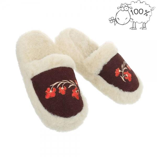 Papuci de casa lana de oaie PAN-1-201-coffee 0