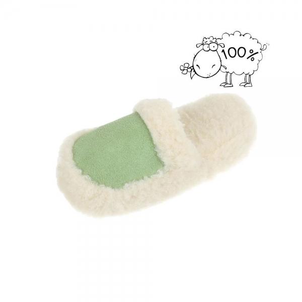 Papuci de casa imblaniti lana de oaie PAN-1-201-Verde 2