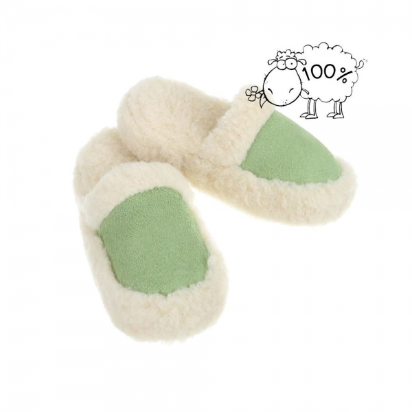 Papuci de casa imblaniti lana de oaie PAN-1-201-Verde 0