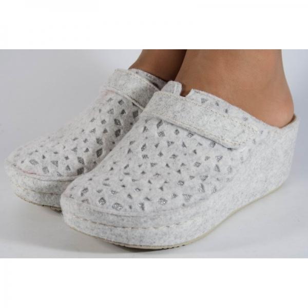 Papuci de casa Mubb din lana Albi-Argintii 3
