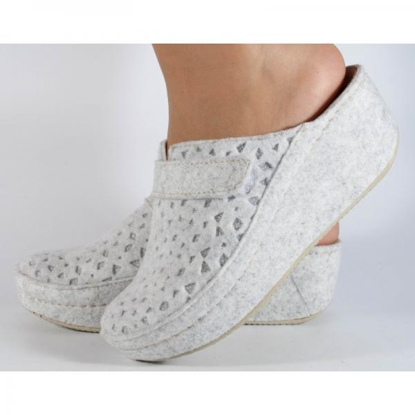 Papuci de casa Mubb din lana Albi-Argintii 1