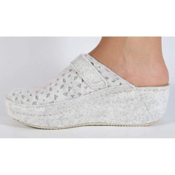 Papuci de casa Mubb din lana Albi-Argintii 2