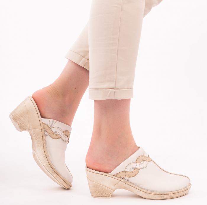 Papuci din piele naturala 202 alb [2]