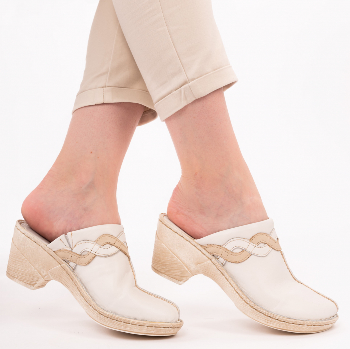 Papuci din piele naturala 202 alb [1]