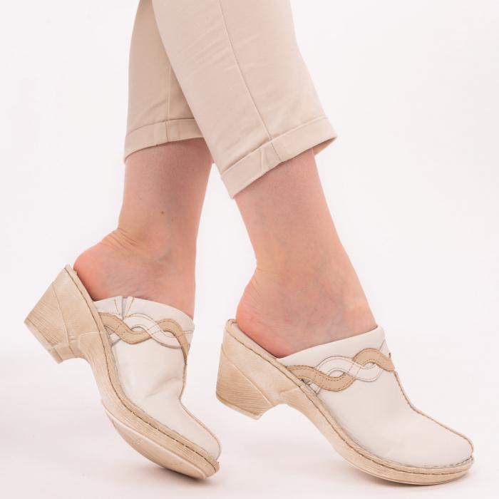 Papuci din piele naturala 202 alb [0]