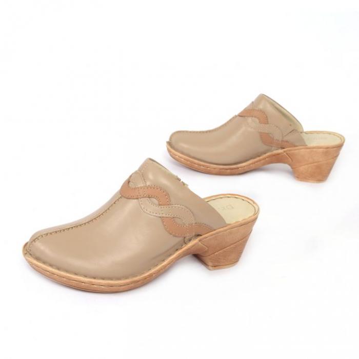 Papuci din piele naturala 202 maro 2