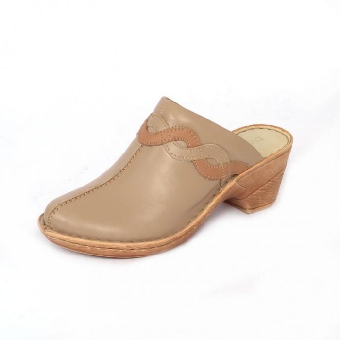 Papuci din piele naturala 202 maro 1