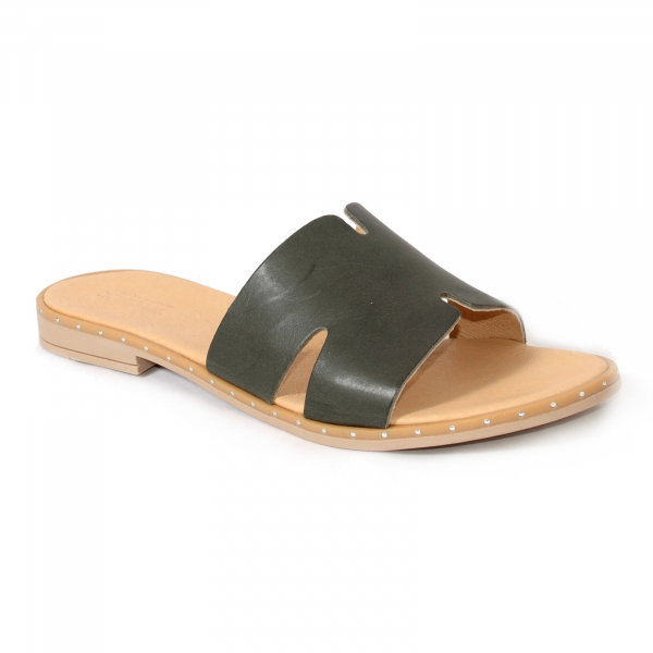 Papuci din piele naturala 254 Verde 0