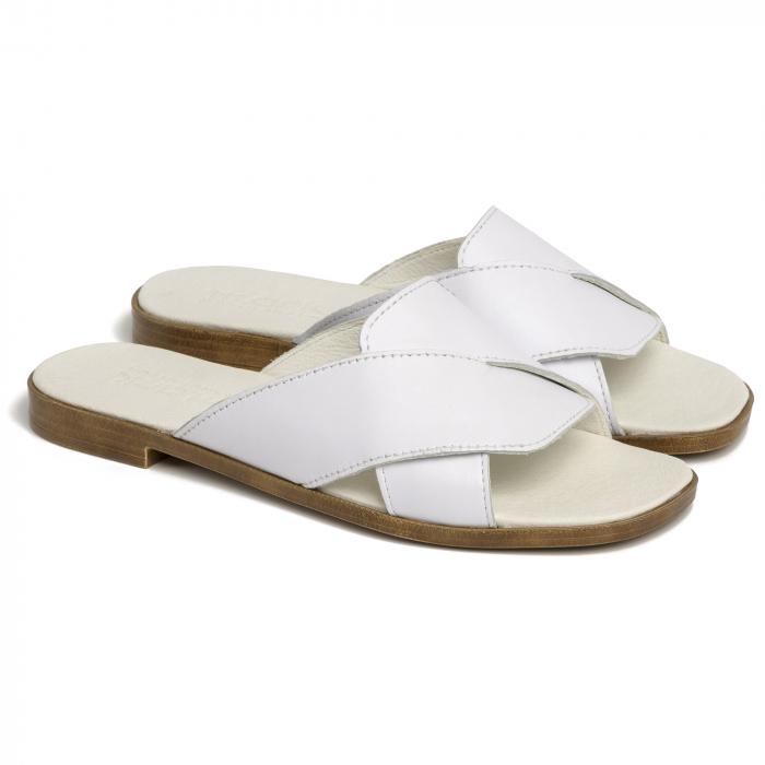 Papuci din piele naturala 270 Alb 0