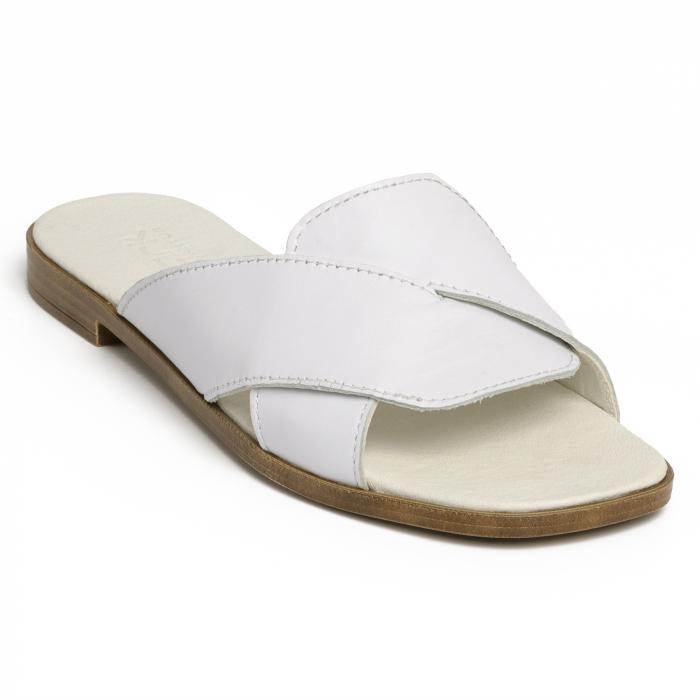 Papuci din piele naturala 270 Alb 2