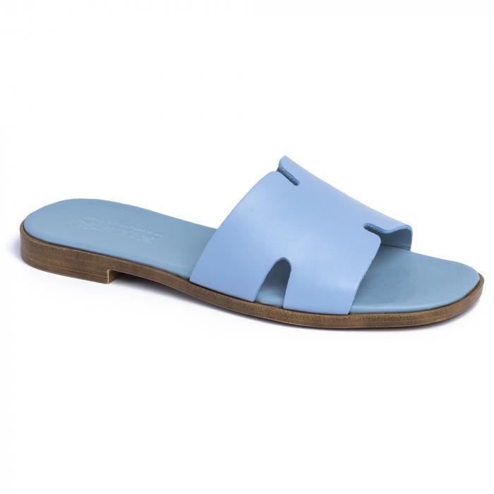 Papuci din piele naturala 254 Blu 1