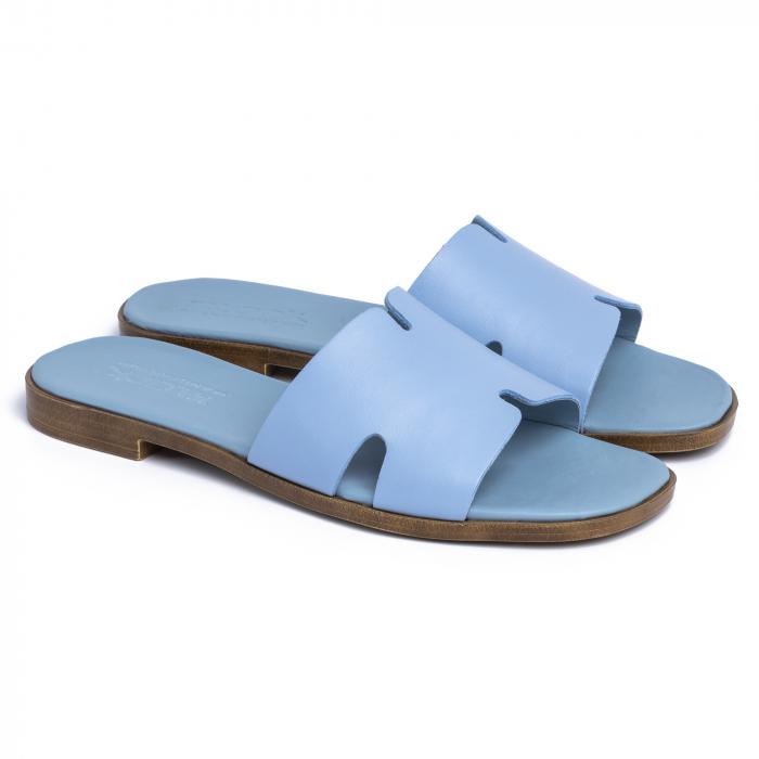 Papuci din piele naturala 254 Blu 0