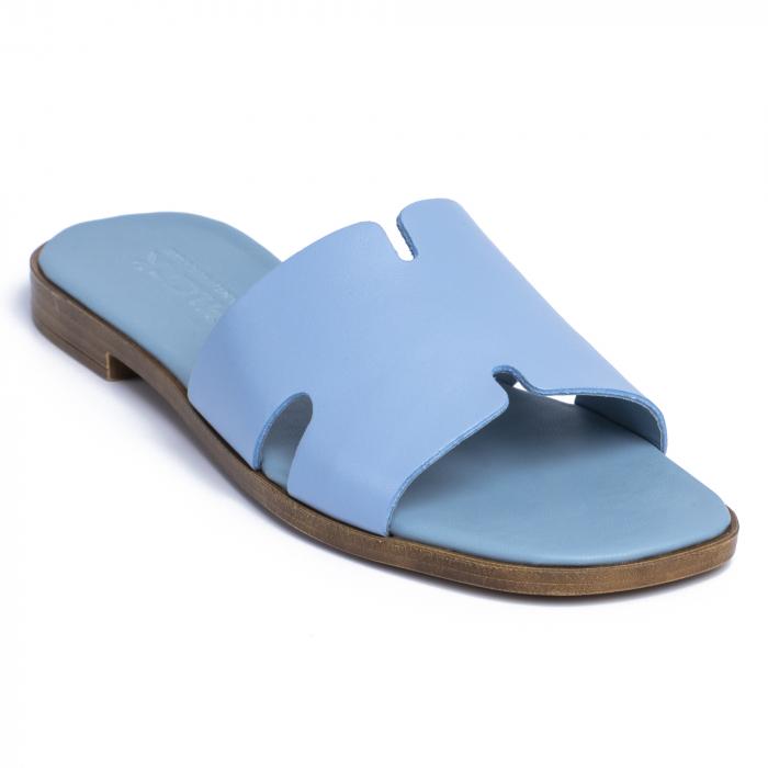 Papuci din piele naturala 254 Blu 2