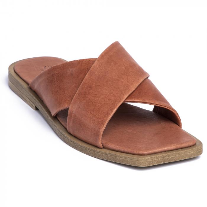 Papuci din piele naturala 268 Maro 2