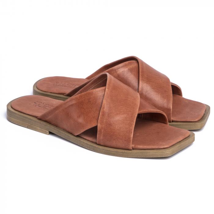 Papuci din piele naturala 268 Maro 0