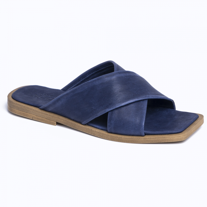 Papuci din piele naturala 268 Blu 1