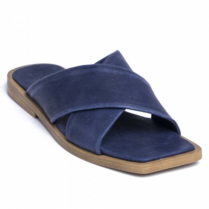 Papuci din piele naturala 268 Blu 2