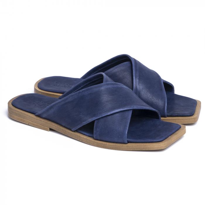 Papuci din piele naturala 268 Blu 0