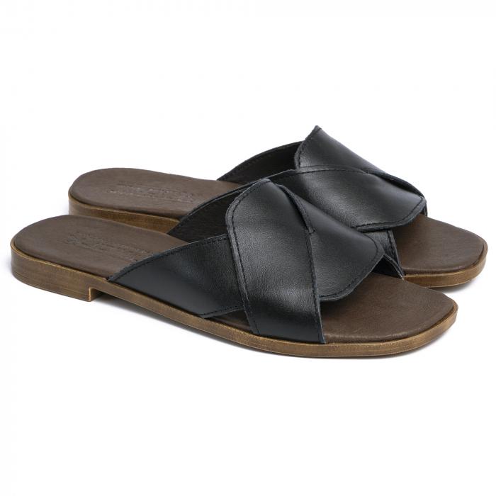 Papuci din piele naturala 270 Negru 0