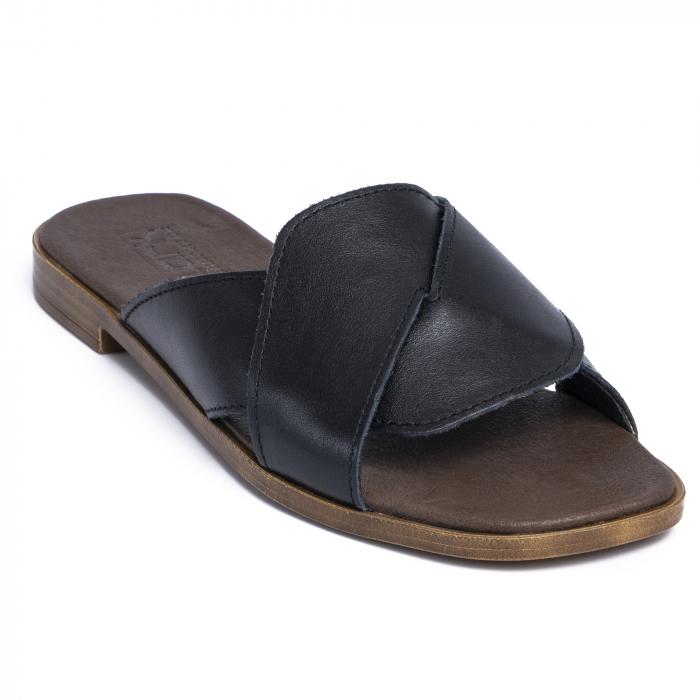 Papuci din piele naturala 270 Negru 2