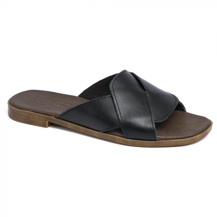 Papuci din piele naturala 270 Negru 1
