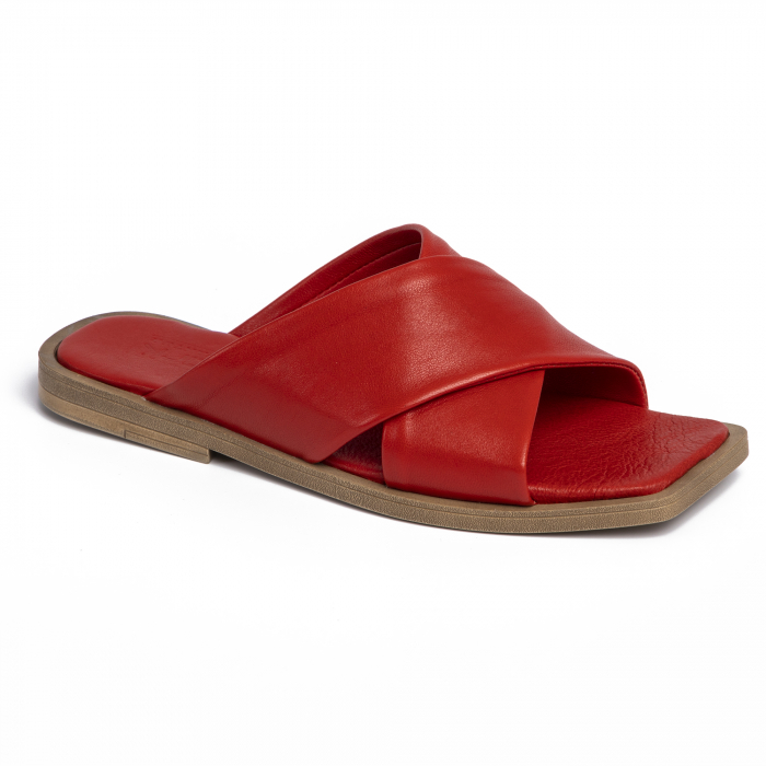 Papuci din piele naturala 268 Rosu 1