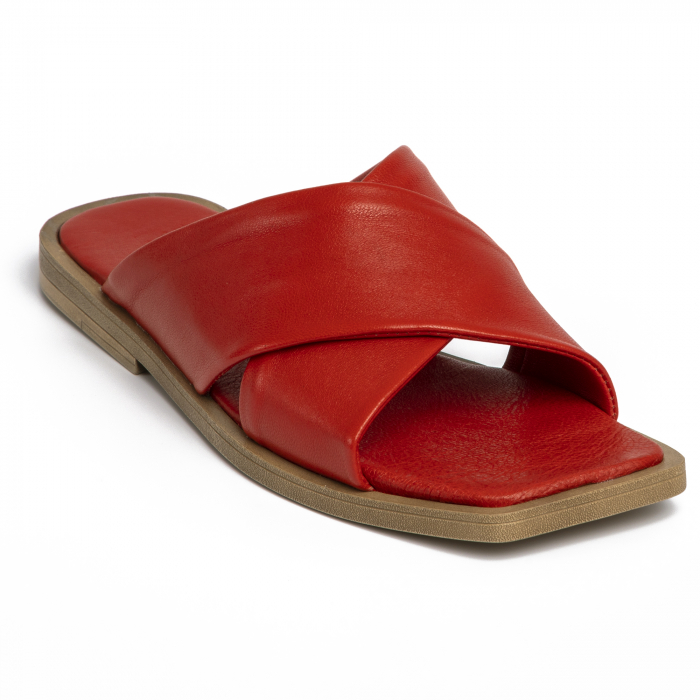 Papuci din piele naturala 268 Rosu 2
