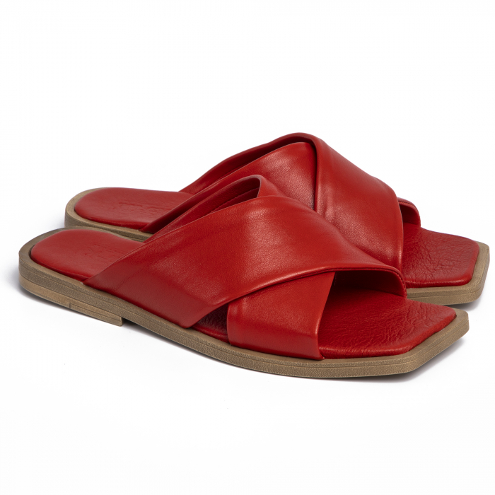 Papuci din piele naturala 268 Rosu 0