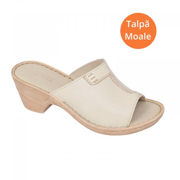 Papuci din piele naturala 315 Bej 1