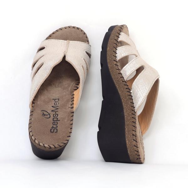 Papuci din piele naturala 6080 Gold 3