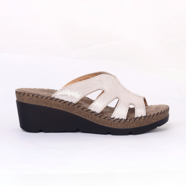 Papuci din piele naturala 6080 Gold 2